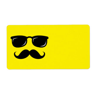 Funny incognito smiley mustache trendy hipster shipping label