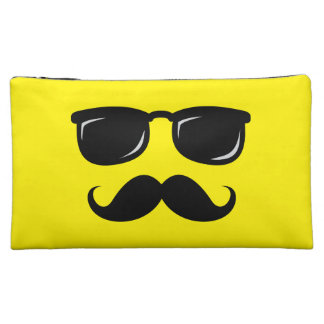 Funny incognito smiley mustache trendy hipster makeup bag