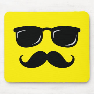Funny incognito smiley mustache trendy hipster mouse pads