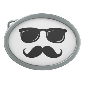 Funny incognito smiley mustache trendy hipster oval belt buckle