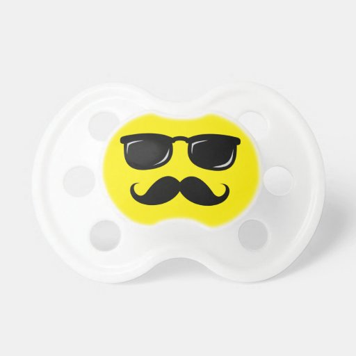 Funny incognito smiley mustache trendy hipster pacifier