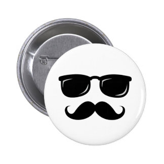 Funny incognito smiley mustache trendy hipster pinback button