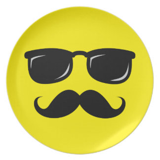 Funny incognito smiley mustache trendy hipster plate