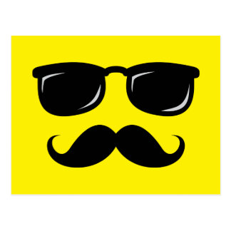Funny incognito smiley mustache trendy hipster postcard