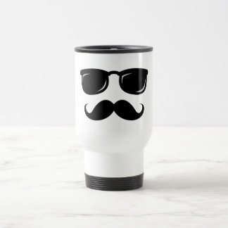 Funny incognito smiley mustache trendy hipster travel mug