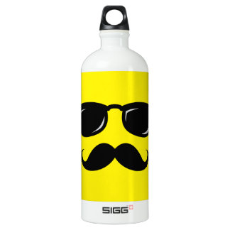 Funny incognito smiley mustache trendy hipster water bottle