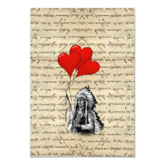 Funny Indian chief and heart balloons Card