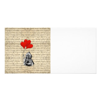 Funny Indian chief and heart balloons Photo Card