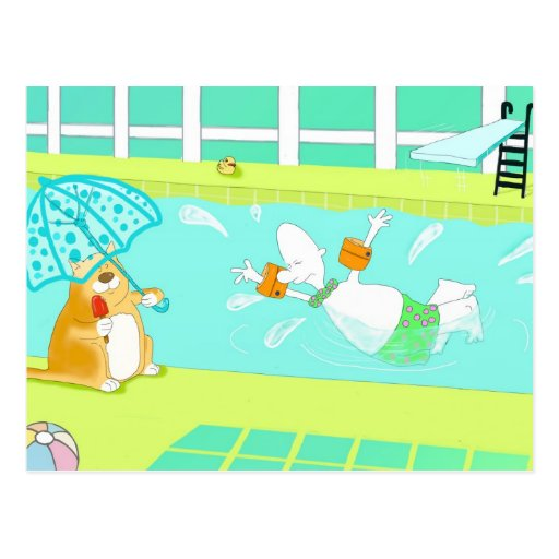 Funny indoors swimming postcard
