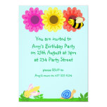 """Funny insects Party Invitation 5"""" X 7"""" Invitation Card"""