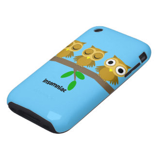funny insomniac owl iPhone 3 tough cover