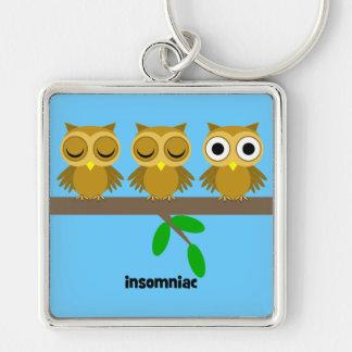 funny insomniac owl keychain