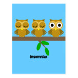 funny insomniac owl postcards