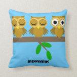 funny insomniac owl throw pillows