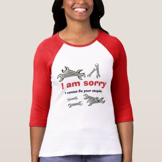Funny Insult Cannot Fix Stupid Wrench Woman's Tee