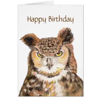 Funny Insulting Cute Owl Birthday Card