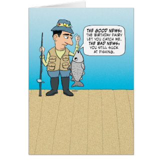 Funny insulting fish birthday greeting card for Fishing birthday cards