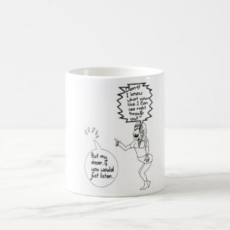 Funny Invisible man and wife cartoon mug. Coffee Mug