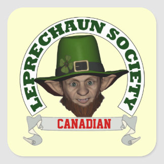 Funny Irish Canadian  leprechaun society Square Sticker