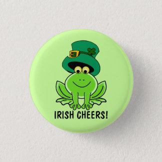 Funny Irish Cheers Cartoon Frog St. Patrick's Day Button