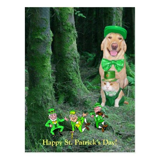 Funny Irish Dog, Cat & Leprechauns Postcard