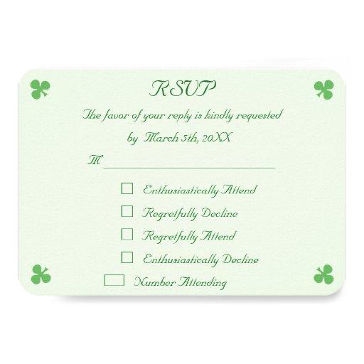 Funny Wedding Gifts Ireland : Funny Irish Green Wedding RSVP Invitation Card Zazzle
