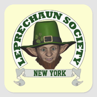 Funny Irish New York  leprechaun society Square Sticker