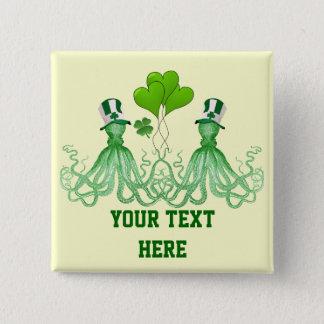 Funny Irish octopi St Patrick's day Pinback Button