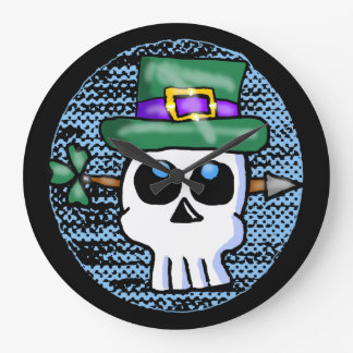 Funny Irish Skull Cartoon Large Clock