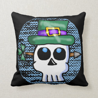 Funny Irish Skull Cartoon Throw Pillow