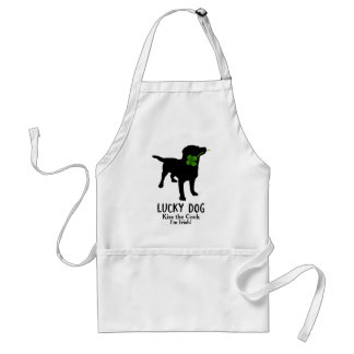Funny Irish St. Patrick's Day Black Lab Lucky Dog Adult Apron