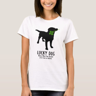 Funny Irish St. Patrick's Day Black Lab Lucky Dog T-Shirt