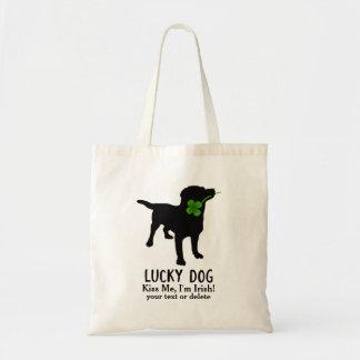 Funny Irish St. Patrick's Day Black Lab Lucky Dog Tote Bag