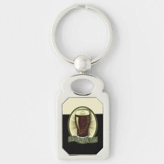 Funny Irish Stout Silver-Colored Rectangular Metal Keychain