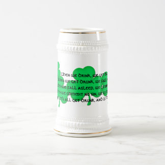 Funny Irish Toast #1 (shamrocks) Beer Stein