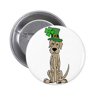 Funny Irish Wolfhound St. Patrick's Day Art Pinback Button