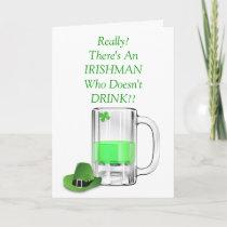 Funny Irishman Beer Drinking St. Patrick's Day Card