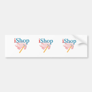 Funny iShop With Piggybank and Hammer Bumper Sticker