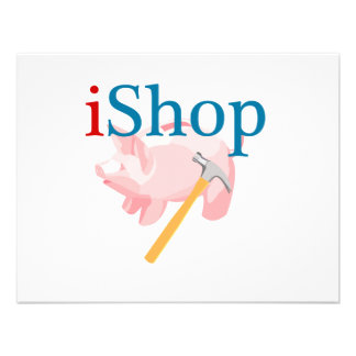 Funny iShop With Piggybank and Hammer Invitations