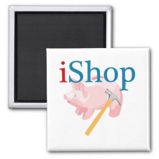 Funny iShop With Piggybank and Hammer Magnet