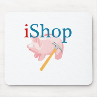 Funny iShop With Piggybank and Hammer Mouse Pad