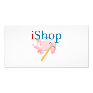 Funny iShop With Piggybank and Hammer Photo Greeting Card