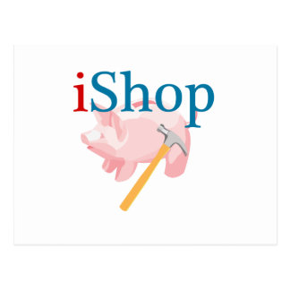 Funny iShop With Piggybank and Hammer Postcard
