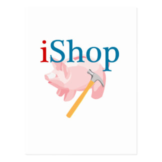 Funny iShop With Piggybank and Hammer Post Cards