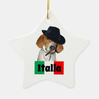 Funny Italian Mobster Charley Dog Double-Sided Star Ceramic Christmas Ornament