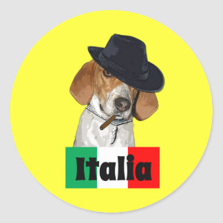Funny Italian Mobster Charley Dog Round Stickers