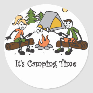 Funny It's Camping Time Outdoor Sport Round Stickers