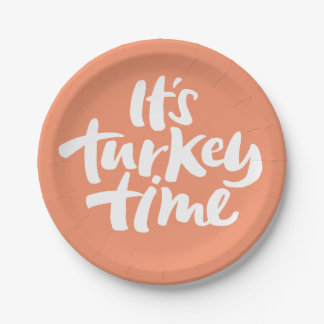 Funny Its Turkey Time Thanksgiving Dinner Saying Paper Plate