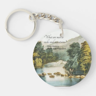 Funny Jane Austen Quote preferring Nature to Men Double-Sided Round Acrylic Keychain