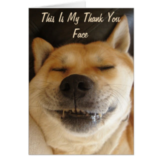 funny Japanese akita with cute smile thank you Card